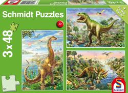 Avontuur met Dinosauriers, 3 x 48 stukjes - Puzzel