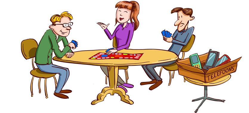 Gezellig samen rond de tafel zonder telefoon